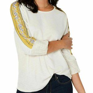Style & Co Print-Panel Sleeved Thermal Orchid Top